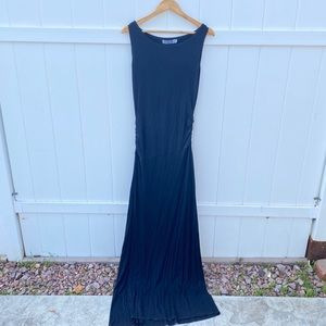 Rehab black maxi dress high slit size Large